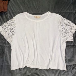Hollister white lace sleeve crop top